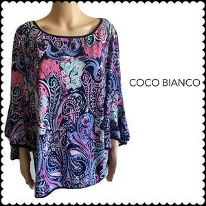 COCO Bianco Floral Paisley Long Bell Sleeve EUC